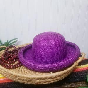 Vintage 1980s Betmar Purple Straw Rolled Hat